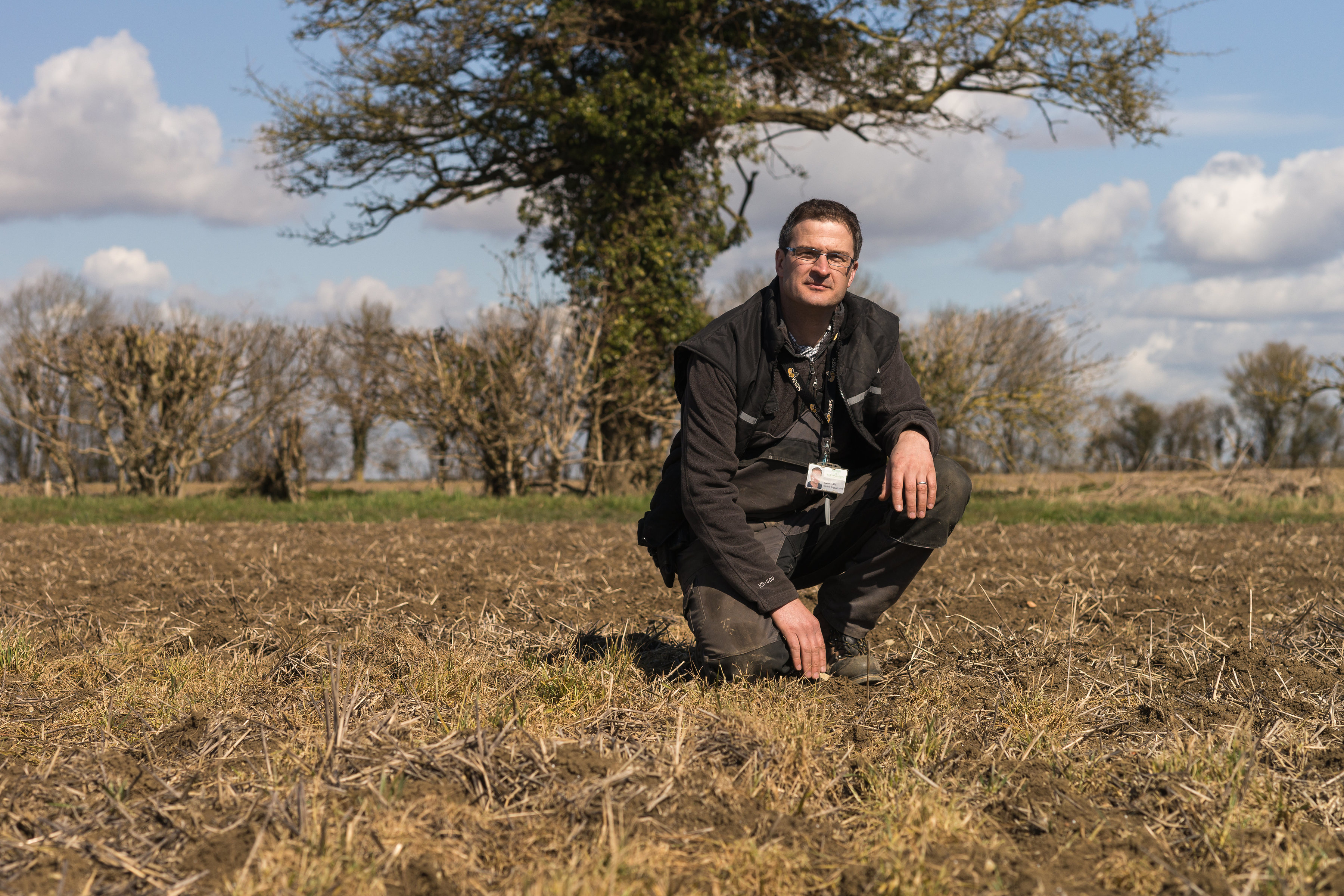 Rob Fox on his farm near Leamington Spa