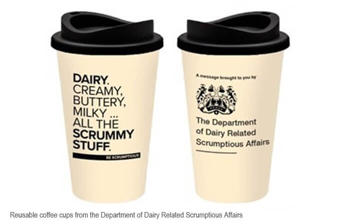 Image of reusable coffee cups with Department of Dairy Related Scrumptious Affairs branding