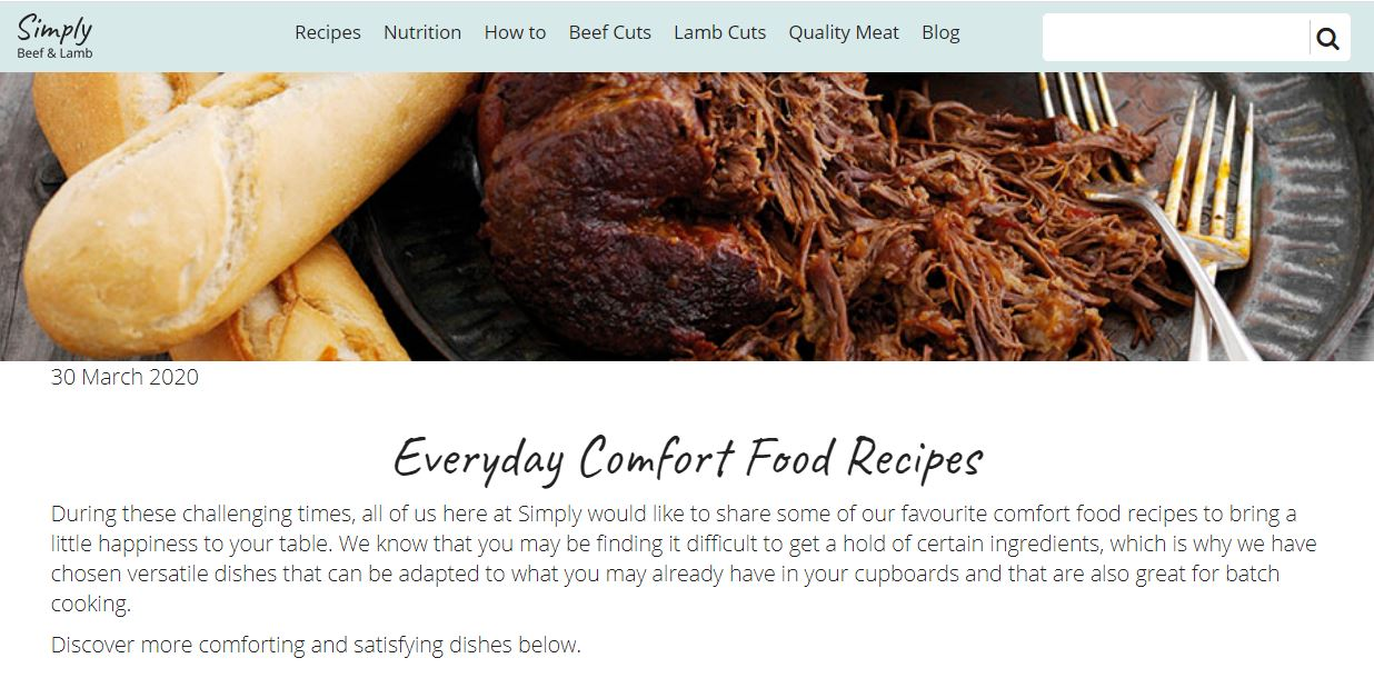 Simply beef and lamb website screenshot taken 30.03.20 of 'Everyday comfort food recipes'.