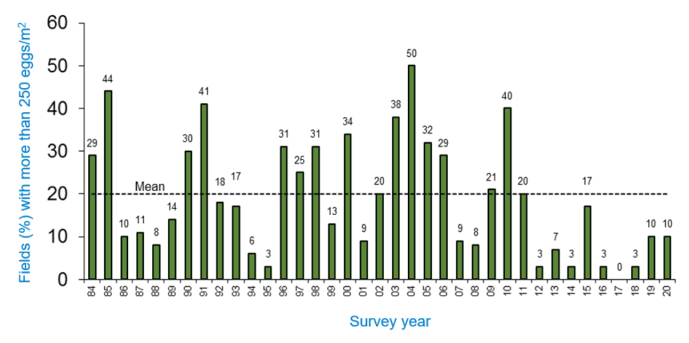 Long-term wheat bulb fly survey results (1984-2020)