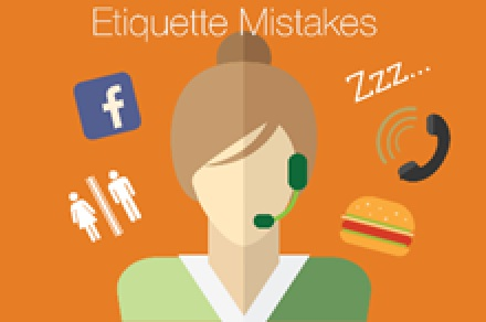 Illustration showing some of the things that can make for poor etiquette when on a video call, such as social media, toilet breaks, other phone calls, eating or lack of focus.