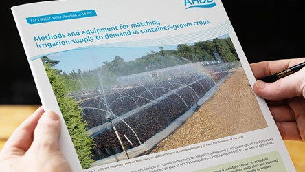 Methods and equipment for matching irrigation supply to demand in container–grown crops