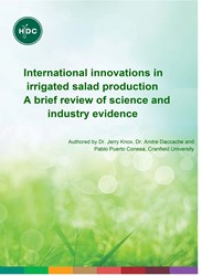 International innovations in irrigated salad production A brief review of science and industry evidence