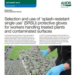 Selection and use of 'splash-resistant single use' (SRSU) protective gloves for workers handling treated plants and contaminated surfaces