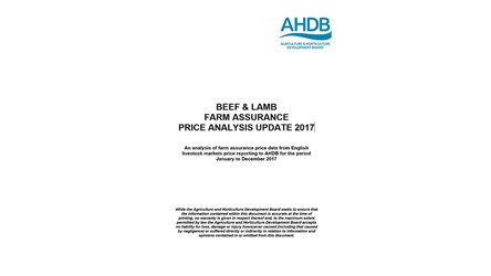 Beef and Lamb Farm Assurance Price Analysis Update 2017